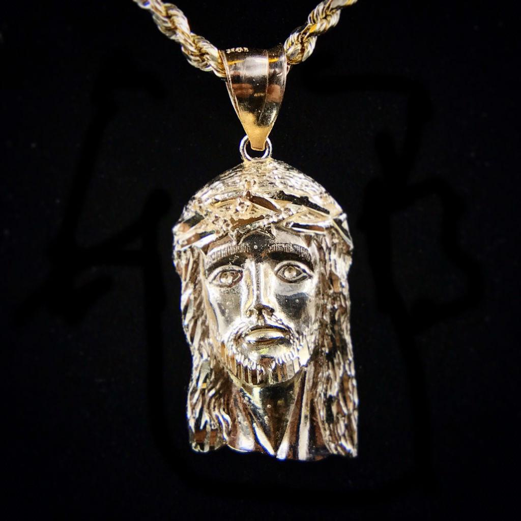 Solid gold jesus head pendant med frostbid aloadofball Gallery